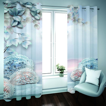 Luxury Curtains Blackout 3D Curtains Print animal flower Kids Curtains Modern KTV Hotel Drapes Blinds