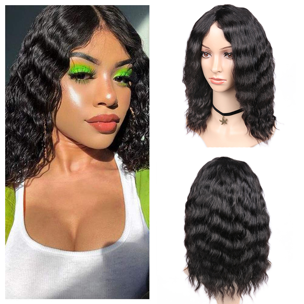 FAVE Hair Human Hair Wigs Loose Deep Wave Wigs Lace Middle Part 150% Density Brazilian Remy Hair Glueless Wig Natural Color