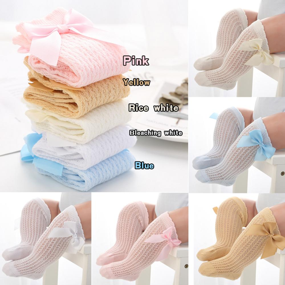 Cute Baby Girls Socks With Bowknot Knee-high Foot Socks For Newborn Baby Breathable Spring Summer Cotton Mesh Baby Tight Sock