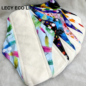 Image 4 - Free shipping organic bamboo inner washable reusable Feminine Hygiene menstrual pads sanitary pads lady cloth pad panty liner1pc