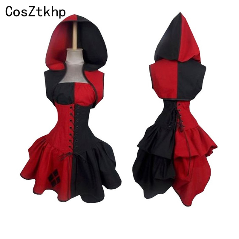 Free Shippin Vintage Women Dress Sleeveless Hooded Dresses Halloween Cosplay Costumes Made Harley Quinn For Women Plus Size 2XL