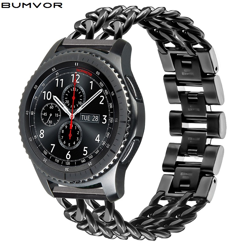 22mm Stainless Steel Watchband For Samsung Galaxy Watch 46mm SM-R800 Sports Band Curved End Strap Wrist Bracelet Silver Black