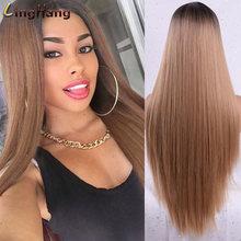 Linghang женские длинные прямые синтетические парики Смешанные