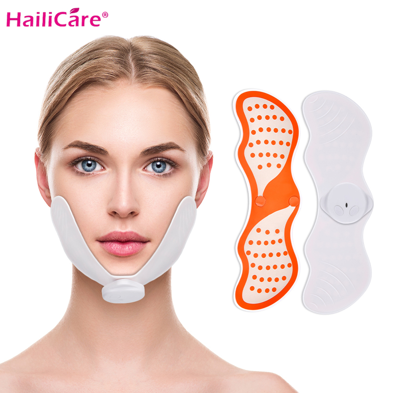 EMS Facial Slimming Massager Women V Shape Facial Lifting Device Face Lifting Massage With Gel Pads Electrico Muscle Stimulator
