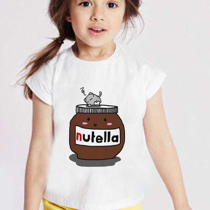 Unisex New 2020 Kids Clothes Summer Girls T Shirt Cartoon Peanut Butter Baby Girl Tshirt Nutella Casual Boys Tshirts Vogue Cute