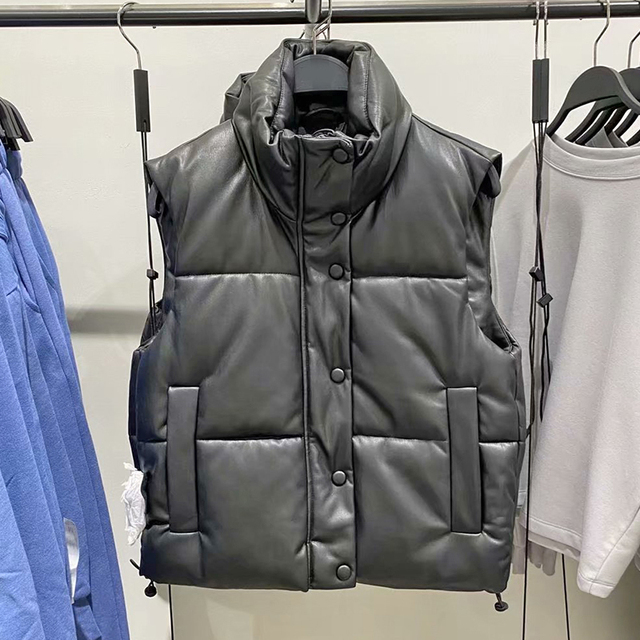 2021 Autumn Winter Women Black Faux Leather Jackets Fashion Zipper Sleeveless Coat Tops Female Casual Warm Outwear Ladies 3