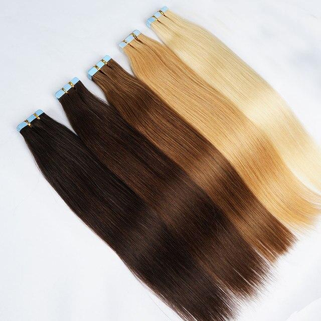 الشريط لحمة الجلد في ملحقات شعر بشري حقيقي آلة صنع ريمي غير مرئية مزدوجة من جانب الشريط الأزرق الألوان الداكنة للشعر رقيقة