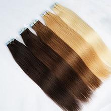 진짜 인간의 머리카락 확장에 피부 Weft 테이프 기계 만든 레미 보이지 않는 양면 블루 테이프 얇은 머리카락을위한 어두운 색상