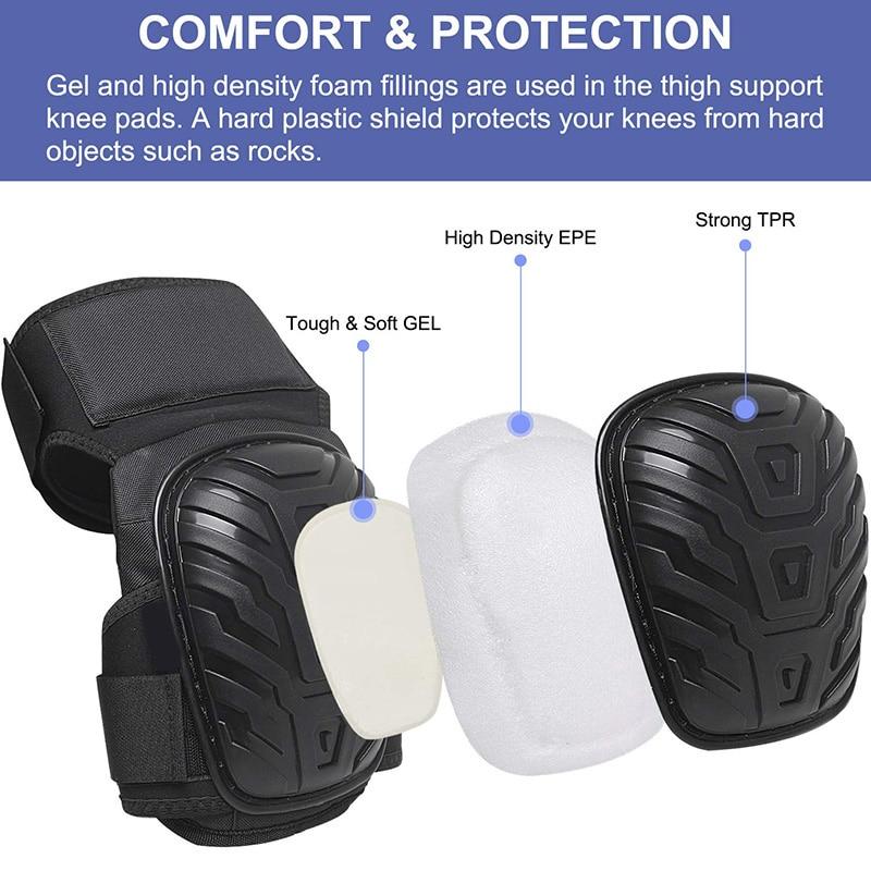 Work Knee Pads With Gel Padding Adjustable Straps For Gardening Construction Works JLRL88