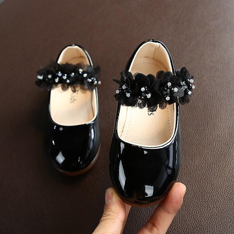 Купить демисезонные кожаные туфли принцессы для маленьких девочек повседневные