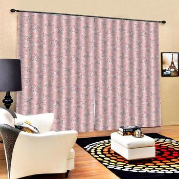 pink curtains fashion flower curtains Window Blackout Luxury 3D Curtains set For Bed room Living room Office