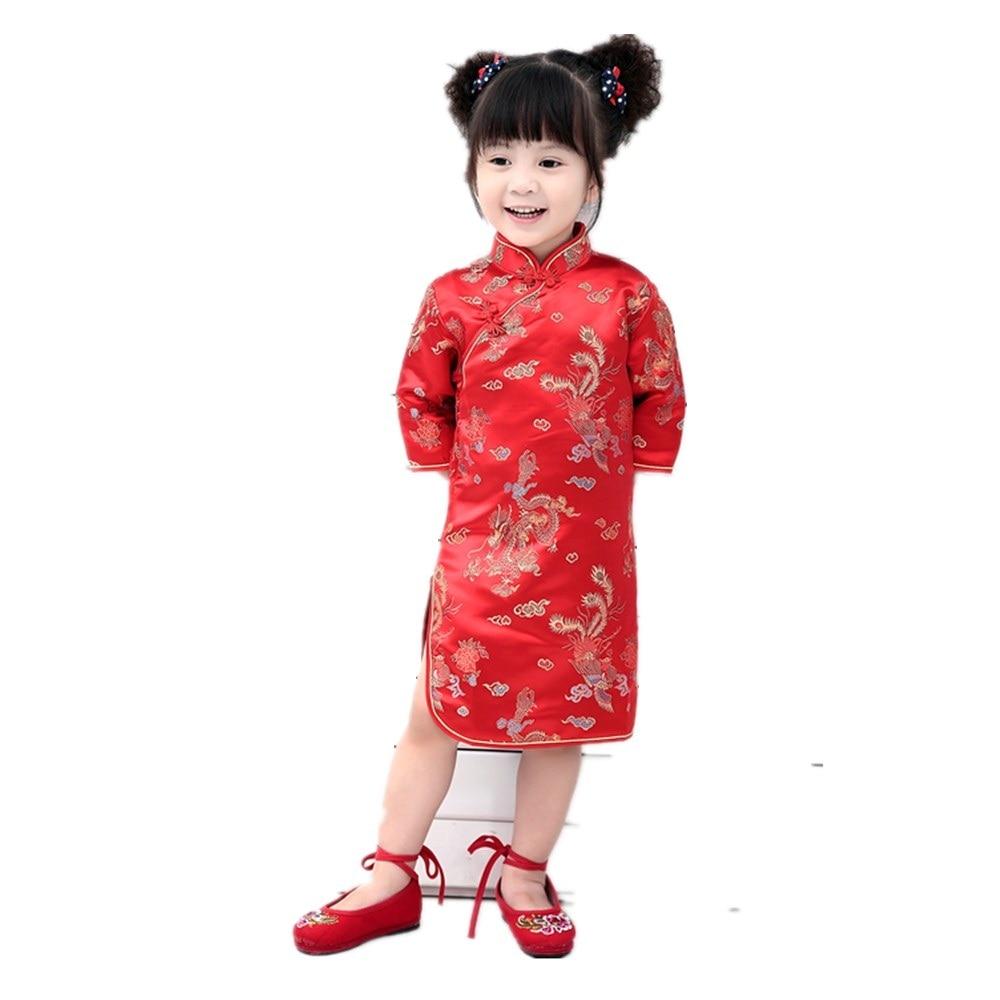 Hooyi Crane Baby Girls Chinese Traditional Dress Children Cheongsam Qipao Dresses Chi-pao