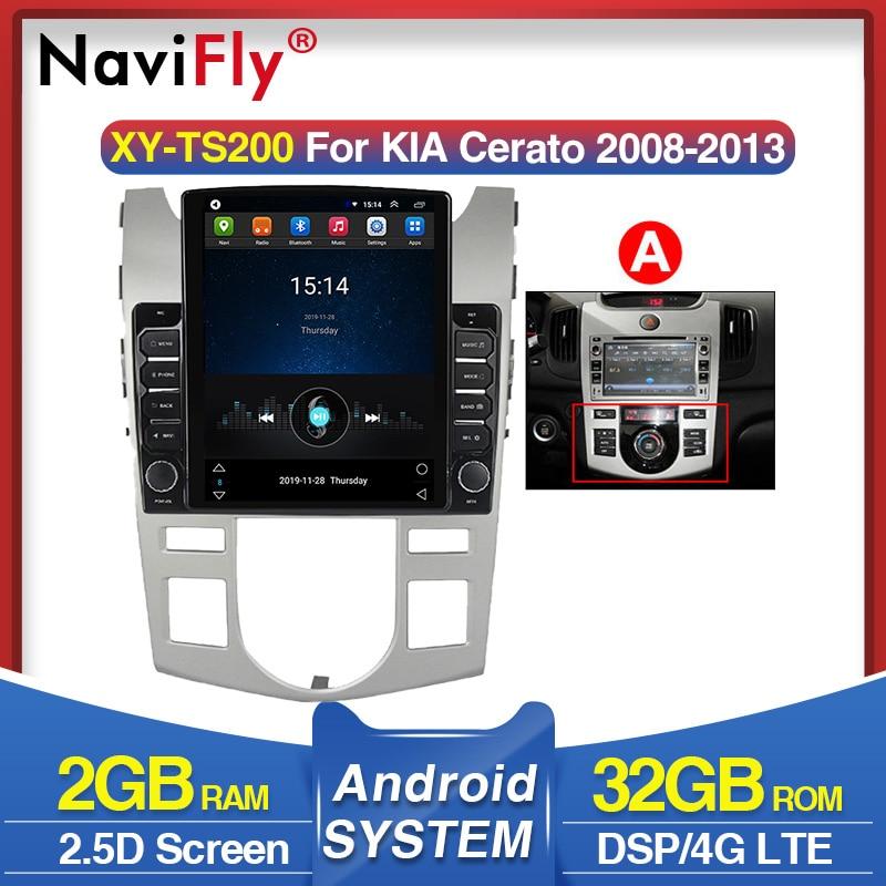 Navifly tesla 2.5d screencar reprodutor estéreo de rádio multimídia para kia forte cerato 2008-2013 gps naviagtion 4g lte 2g 32grom