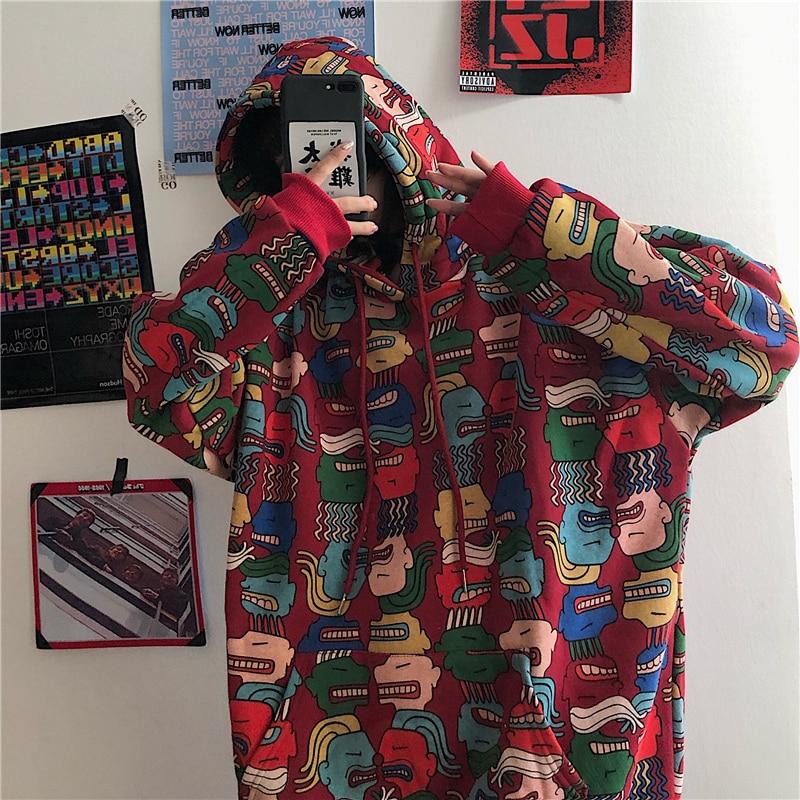 Print Sweatshirt Women Hoodies Oversized Hoodie Harajuku Kpop Hood Hooded Woman Loose Bf Student Coat Sudadera Mujer Streetwear