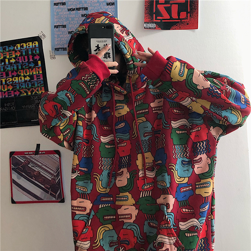 Oversized Hoodie Coat Print Sweatshirt Streetwear Harajuku Woman Kpop Loose Bf Student