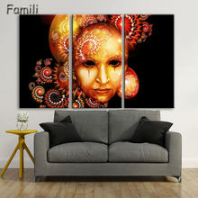 3panel/set Color Mask Face Poste of dancer Home Decor abstract canvas painting for living room giveaways wall sticker(China)
