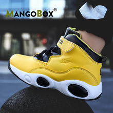 2020 New Basketball Sneakers Kids Yellow Outdoor Boys Shoes Brand Boy Leather Basketball Boots Anti-Slip Kids Basketball Shoes cheap Mangobox CN(Origin) All seasons Rubber Black Yellow 26-39