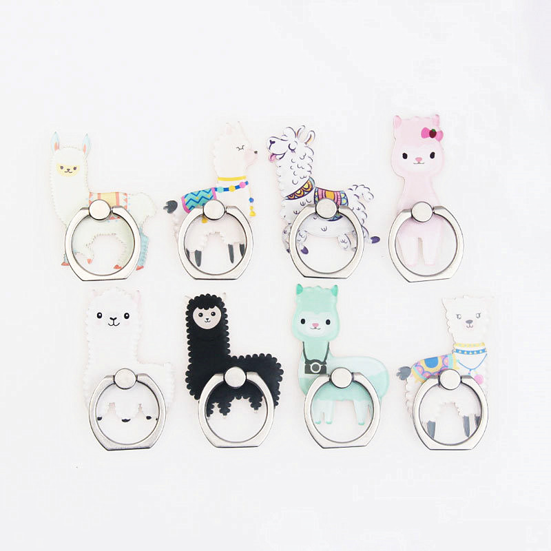 Cartoon Animal Phone Finger Ring Cute Alpaca Mobile Phone Holder Stand Personalized Ring Buckle Metal Smartphone Stand Holder