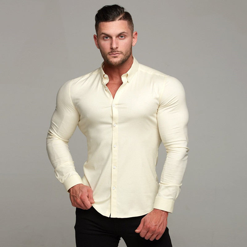 Men's Slim Stretch Dry Dog Brothers Sports Casual Shirt Solid Color Shirt Wild Suit
