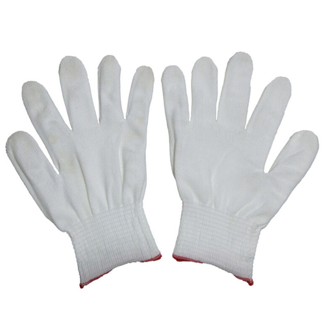 4pcs= 2 pairs White Black Nylon Antistatic Work Gloves Knit Working Gardening Lumbering Hand Safety Security Protector Grip 3