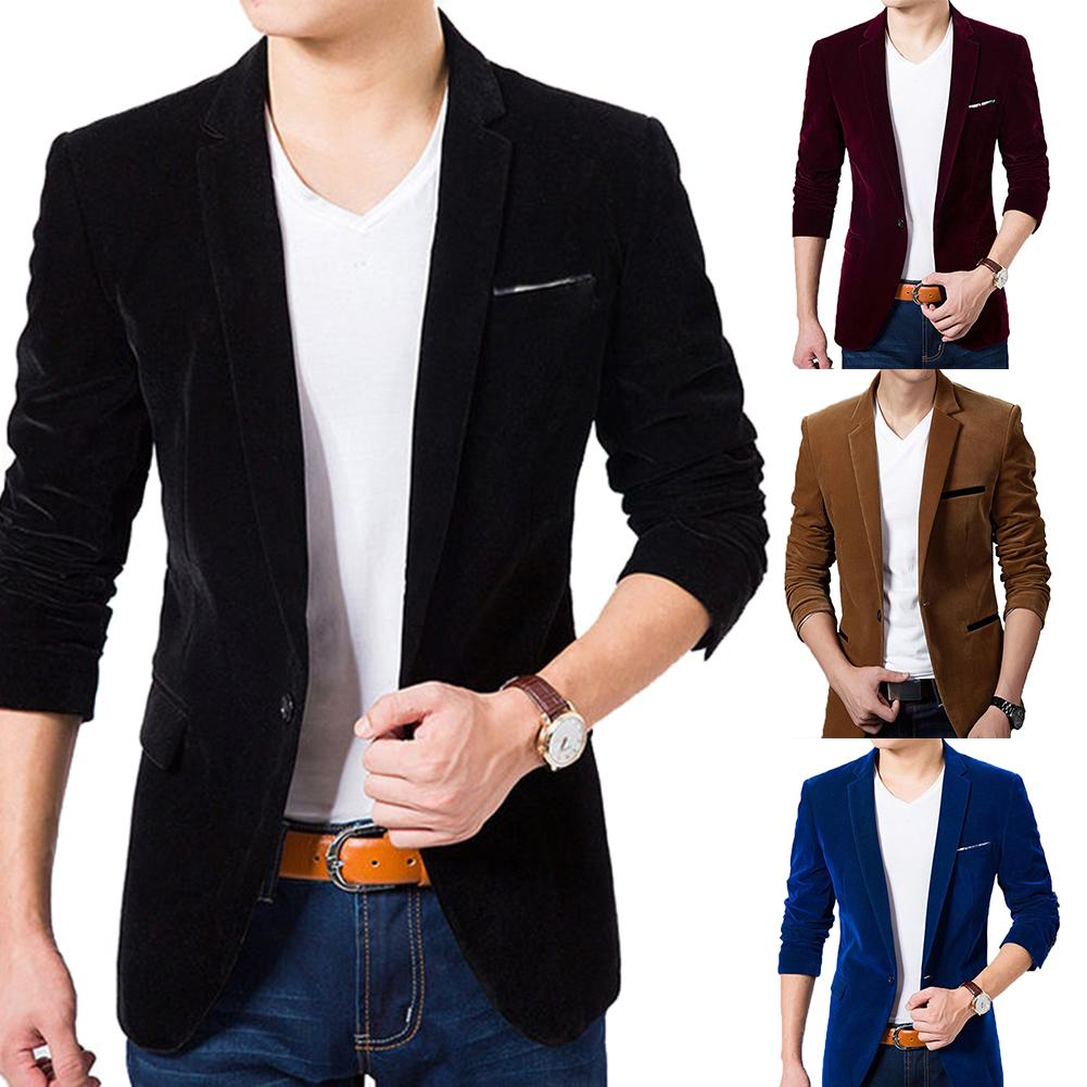 2020 Korean Men Blazer Casual  Men Autumn Long Sleeve Lapel Collar Button Pocket Decor Velvet Slim Blazer Jacket Party Dresses