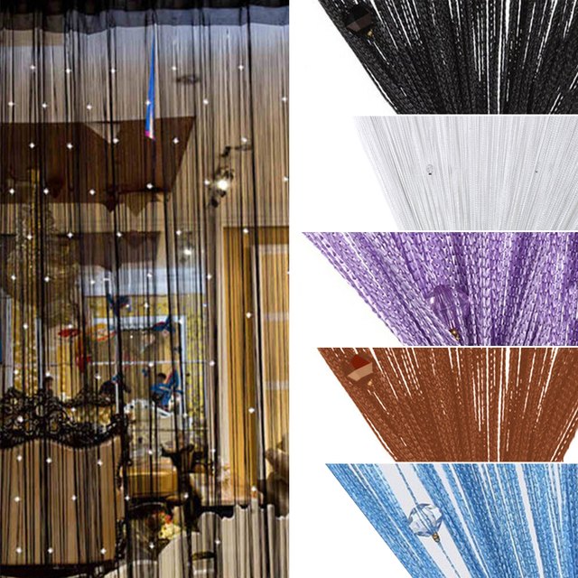 Colorful String Chain Curtain Shiny Tassel Line Curtains Window Door Divider Drape Living Room Decor Valance Home Decoration 3