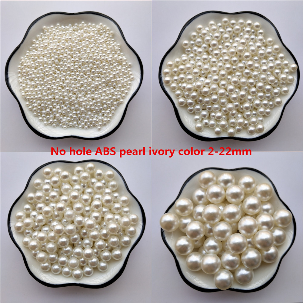 No Hole Ivory ABS Imitation pearl bead 2 3 4 5 6 8 10 12 14 16 18 20 22mm Round Acrylic charm loose beads Jewelry Making craft(China)