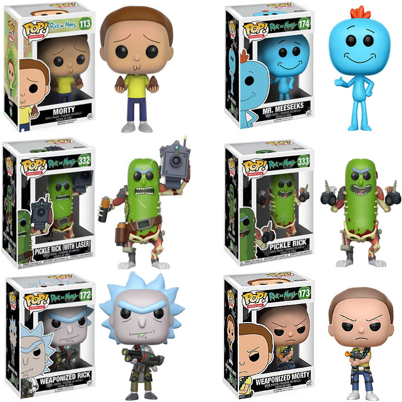 Funko Pop Pickle Rick And Morty Mr.meeseeks Vinyl Figure Doll Toys Action Figurine Toys For Kids Halloween Gifts