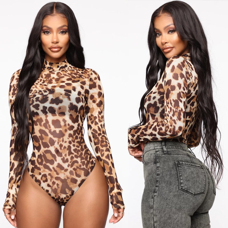 Hirigin Women Sexy Leopard Print High Neck Bodysuit Jumpsuit Clubwear Ladies Mesh See Through Long Sleeve Romper Tops Clothes