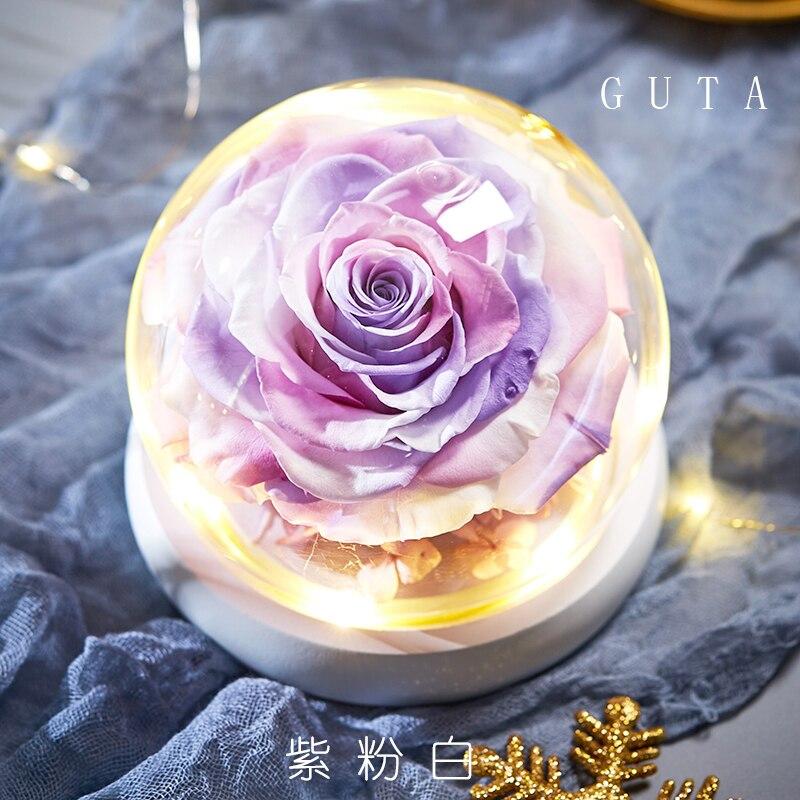 Вечная эксклюзивная Роза в стеклянном куполе Красавица и Чудовище Роза романтические подарки на день Святого Валентина подарок на Рождество подарки на праздник - Цвет: G09-T