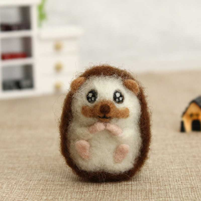 2020 Creative DIY Handmade Needle Beginner Animal Hedgehog Wool Needle Felted Kit No Finished Gift For Her