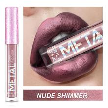 1pc Glitter Metallic Liquid Lipstick Waterproof Shiny Shimmer Metal Lip Gloss Tint Non-Stick Cup Lipgloss Long Lasting Makeup