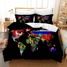 Map Bedding Set Luxury Jogo De Cama Elastic Fitted Sheet Bed Linen Cotton Twin Size Comforter Drap Housse Duvet Cover Children