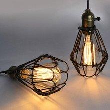 Jaula de lámpara de Metal Vintage sombra de lámpara Retro jaula de hierro Industrial marco de alambre colgante DIY Metal bombilla de protección de la lámpara jaula de luz partes D30