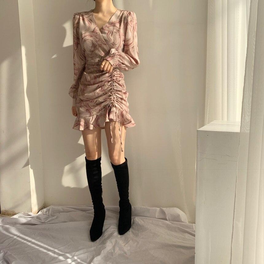 H5585d785c3ef40979451a01b88eaae00t - Autumn V-Neck Long Sleeves Chiffon Drawstring Abstract Print Mini Dress