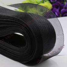 LIXF 80Mm 50Yards Flat Stiff Plain Hard Crinoline Horsehair Mesh Braid for Wedding Dress/Hat Sewing Accessories-Black(China)