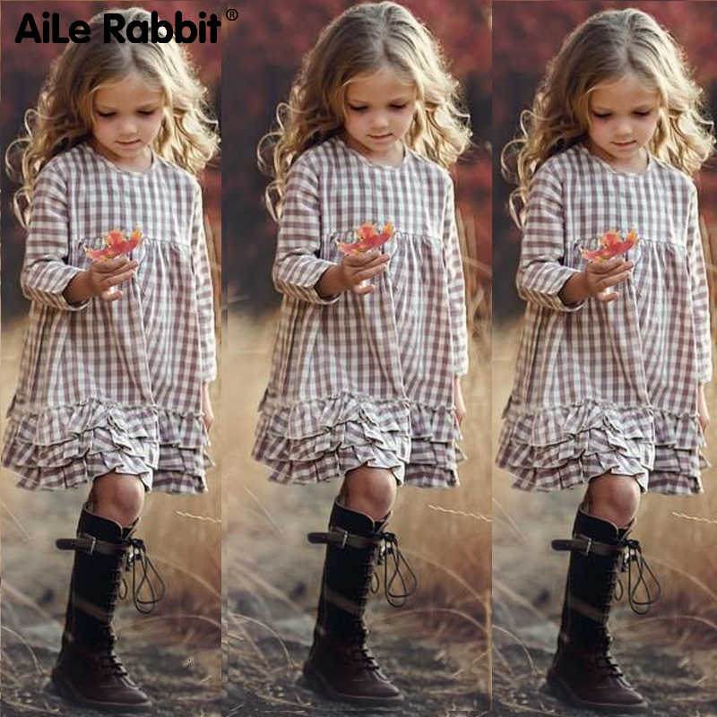 2019 Girls Fashion Plaid Dress New Arrival Autumn Long Sleeve Princess Dress For CU Girls 3-12 INS Style Ruffled Squares Apparel