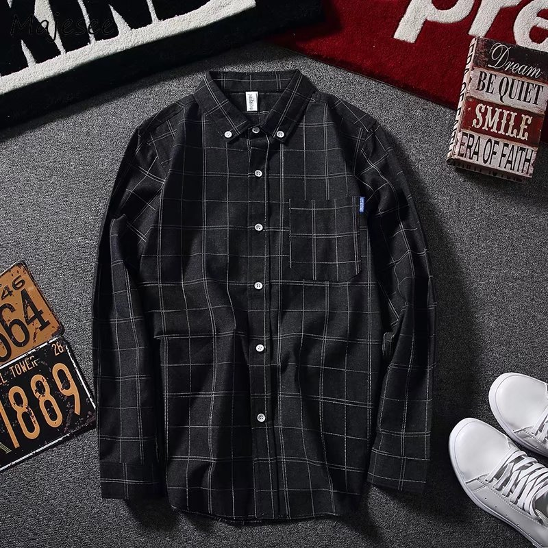 Shirts Men Plaid Long Sleeved Simple All-fmatch Korean Style Trendy Shirt Mens Ulzzang Retro Students Daily Leisure Clothing
