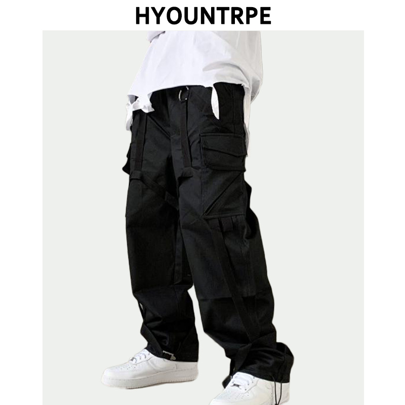Men Cargo Pants  Hip Hop Straight Pant Casual Elastic Waist Drawstring Loose Fit Military Trousers Side Pockets Streetwear Pants