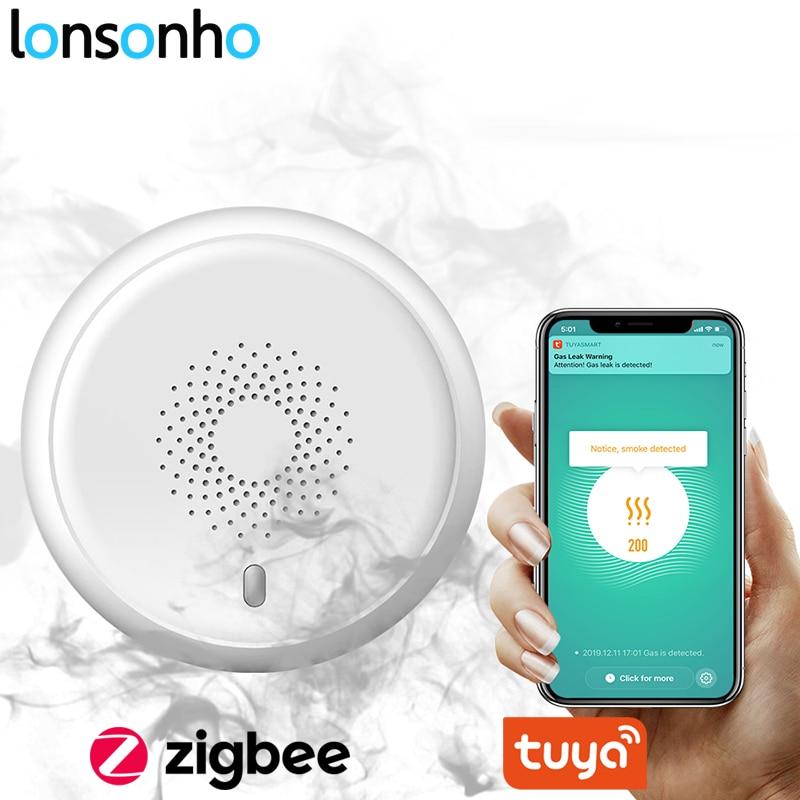 Lonsonho Tuya Zigbee Wifi Smart Smoke Sensor Detector Smart Home Security Alarm System Smartlife App Notification