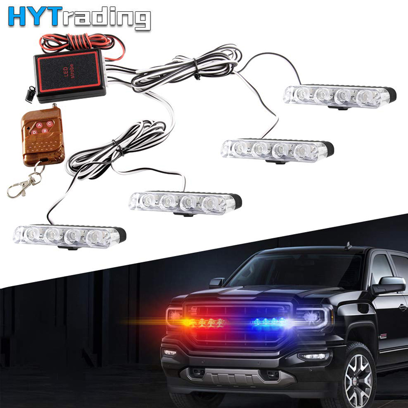 4 X 4 LED Blue Red 16 LED Car Police Lights Vehicle Dash Deck Grille Strobe Warning Lights With Remote Control For Car Truck
