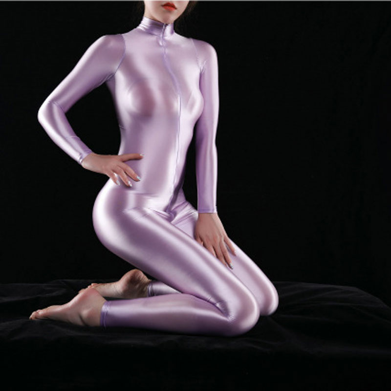 Sexy Frauen Shiny Voll Body Öl Gloosy Gestaltung Sexy Tanga Body Catsuit Sheer Sehen Durch Sexy Engen Candy Farbe Plus größe
