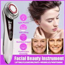 Skóra twarzy EMS mezoterapia elektroporacja oczyszczanie twarzy Lifting ujędrniający wybielanie urządzenie do pielęgnacji twarzy Lifting twarzy dokręcić tanie tanio MERALL Z tworzywa sztucznego Akumulator 16 8 * 4 3cm Beauty instrument China Szczotka Do Mycia twarzy Maszyna wykonana Odmładzanie skóry