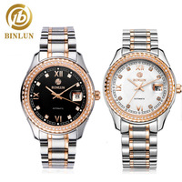 BINLUN Men's Skeleton Watches Classic Luxury Automatic Chronograph Diamond Top Business Men's Mechanical Self Wind Wristwatch Mechanical Watches     -