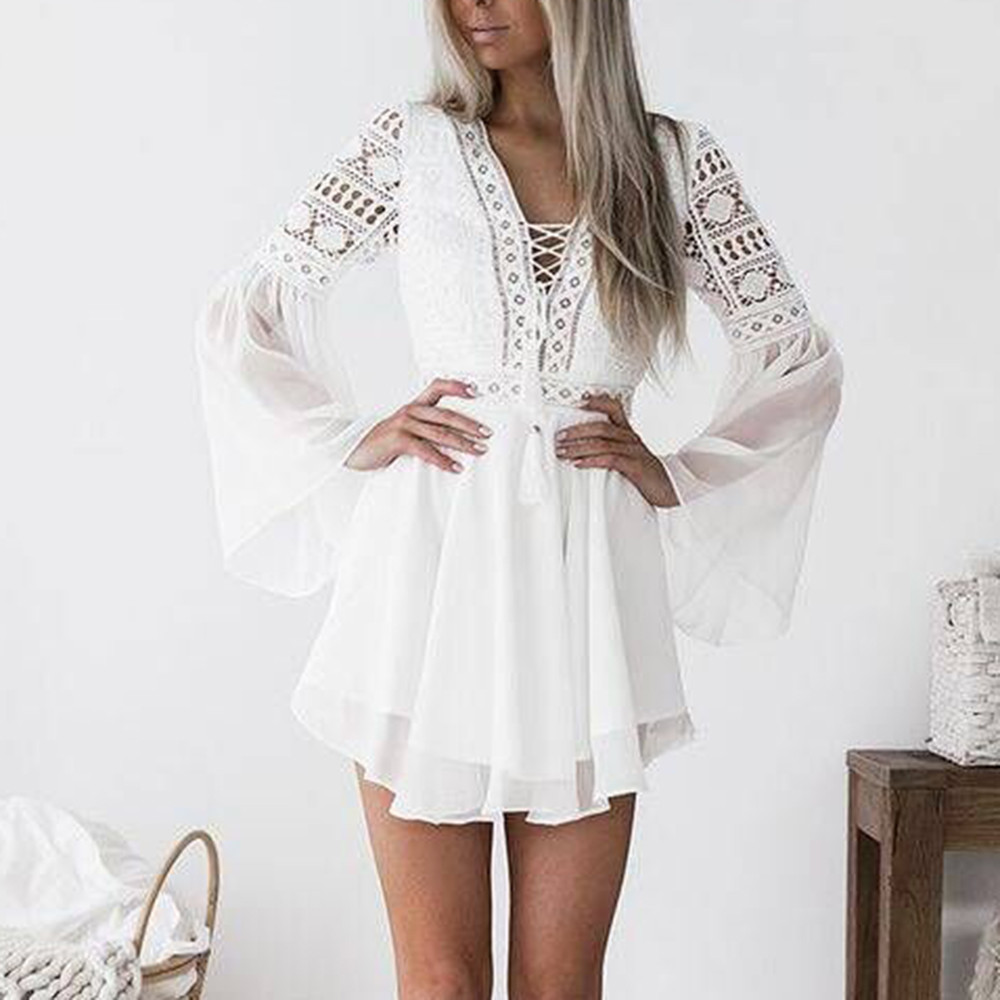 Hollow Out White Dress Sexy Women Mini Chiffon Dress Criss-Cross Semi-sheer Plunge V-Neck Long Sleeve Crochet Lace Dress 2021#XX