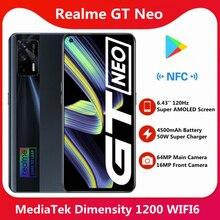 Realme GT Neo 5G téléphone portable Original 128 go 6.43 pouces 120Hz Super AMOLED dimension 1200 Octa Core 50W Charge rapide 64MP WIFI 6 NFC