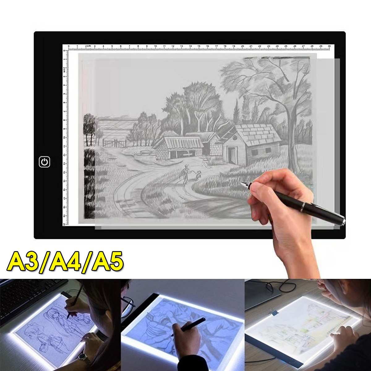 A3/A4/<font><b>A5</b></font> Size Drawing Tablet <font><b>Led</b></font> <font><b>Light</b></font> <font><b>Pad</b></font> Tablet Diamond Painting Eye Protection Bright Copy Board Diamond Embroidery art image