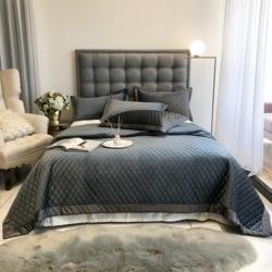 2020 europejski narzuta pikowanie prześcieradło aksamitne szwy Bedlinens Coverlet 3 sztuk narzuta komplet poszewki na poduszki|Narzuta|Dom i ogród -