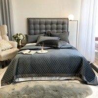 2020 europeu capa de cama acolchoado lençóis de veludo costura colcha 3 pçs colcha conjunto fronhas|Colcha| |  -