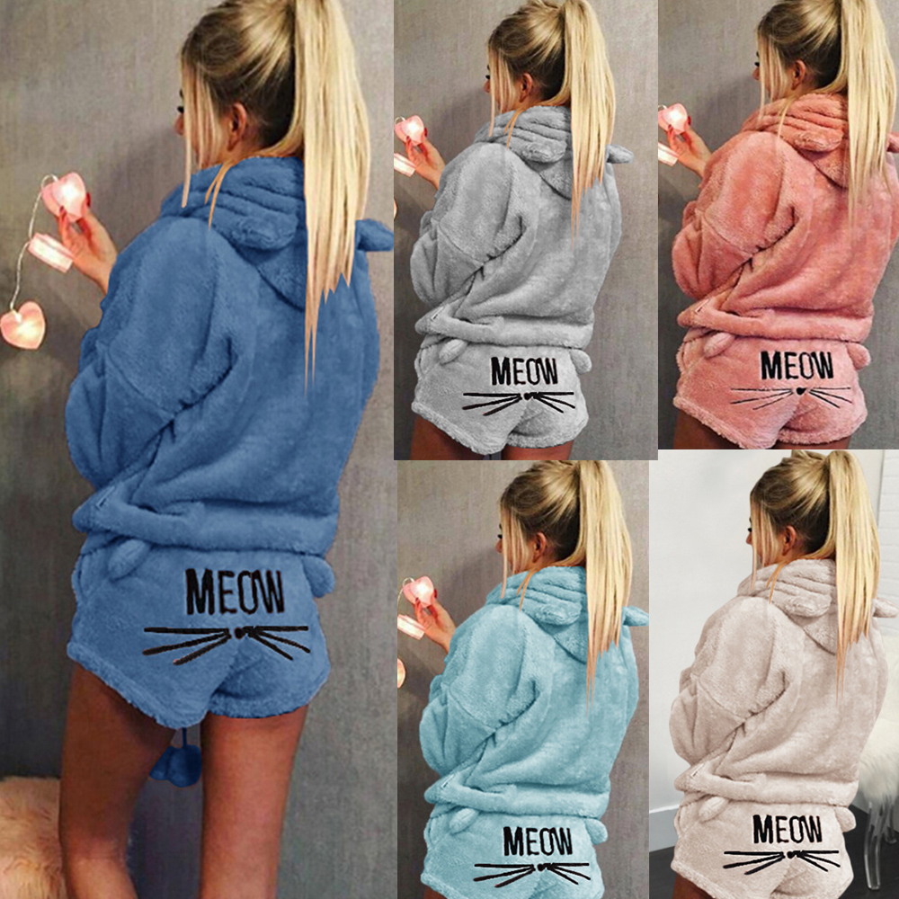 Mulheres Pijama Conjuntos de Calças Hoodies Ternos de Inverno Gato Miau FLeece Sleepwear Macio Conjunto de Duas Peças Ternos Homewear Bonito Fêmea De Pelúcia